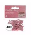 40 geboortekaartjes knijpertjes roze